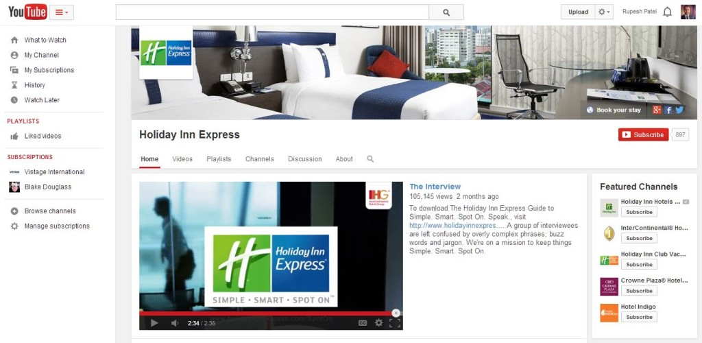 Holiday Inn Express YouTube Channel