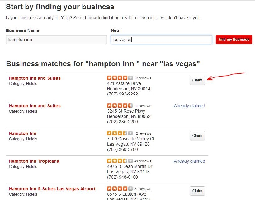 Claim Button on Yelp