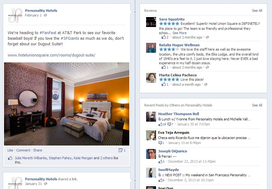 Personality Hotels Facebook Page