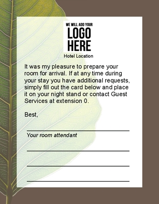 Housekeeping Welcome Cards - Cambria