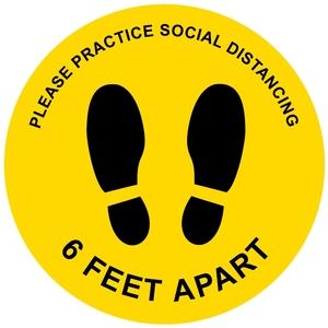Please Practice Social Distancing Yellow