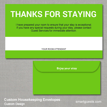 Custom Housekeeping Envelopes