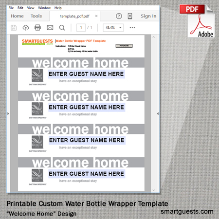 Printable Templates - Water Bottle Label Template - Printable (PDF)